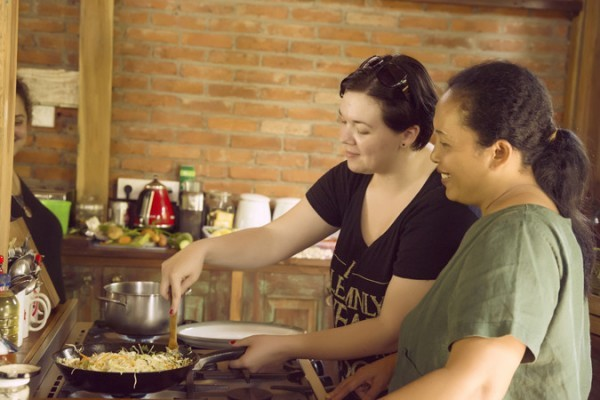 Cooking class at doula retreat